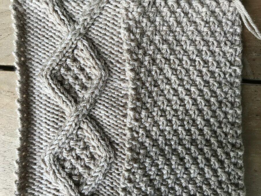 Irisches Perlmuster und Rhombenmuster stricken