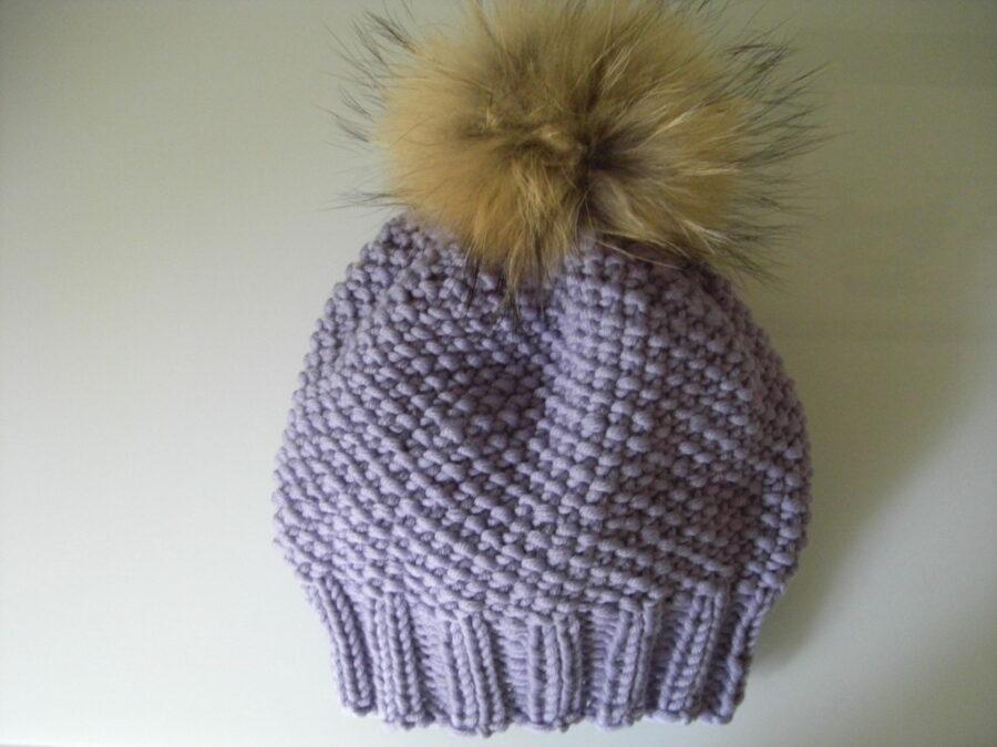 Mütze im kleinen Perlmuster stricken