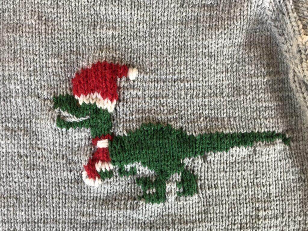 Velociraptor- ugly Christmas Pullover stricken