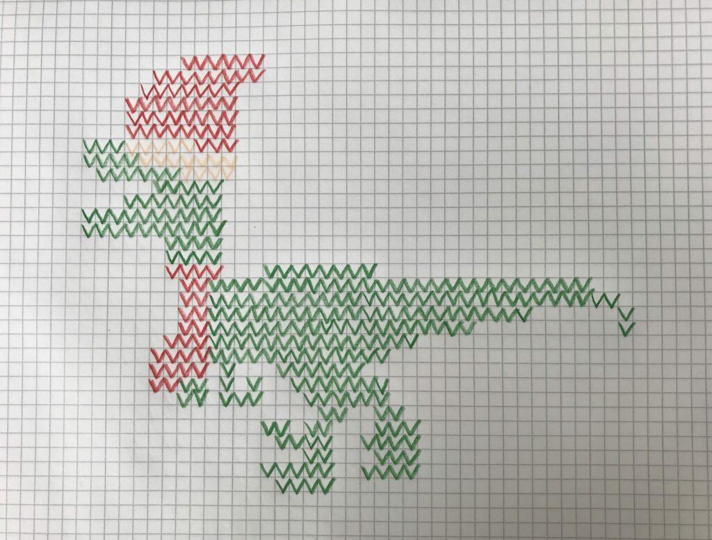 Zählmuster Weihnachtspullover mit Baby Dino